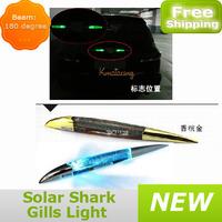 Sliver/golden LED Solar Shark Gills Power Car Emergency Warning Light 8 ColorS Mode Traffic Alert Car Decorative Lamp