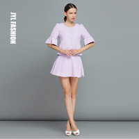 JYL FASHION Brand design light purple romantic flouncing mini skirt half sleeve vintage top uniform suits,two pieces skirt suits