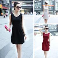 2014 summer women one-piece dress summer V-neck slim all-match fashion slim hip dress