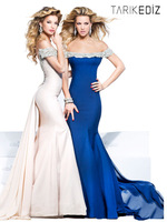 2014 New Tarik Ediz Off-Shoulder Mermaid Blue Red Sexy Formal Evening Dresses Sweep Train Hollow Back Crystals Evening Gowns