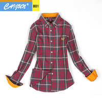 Autumn fashion women's plus size shirt slim 100% female cotton long-sleeve plaid shirt