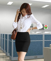 2014 spring and autumn the trend formal career dress set women's long-sleeve shirt white short skirt