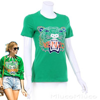 Women classical Fashion EU/USA T shirt short 3D print tiger embridery cotton tees solid black/green