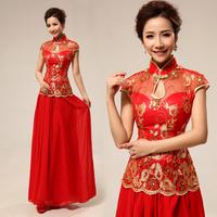 Improved cheongsam dress summer short-sleeve lace transparent sexy red wedding dress bride evening dress short design