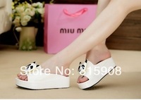 Slip-resistant Women's Slippers Panda Head Flat Heel Shoes Sandals Flip Flops Velvet Free Shipping 2014
