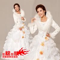 2014 new arrival cotton fur collar long-sleeve thermal winter wedding dress