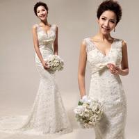 Royal 2013 vintage sexy deep V-neck luxury slim lace fish tail train bride wedding dress