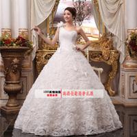 2014 new arrival sweet princess oblique bride one shoulder spaghetti strap flower wedding dress