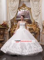 2014 new arrival princess lace quality fashion tube top wedding dress