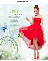 2014 red marry  low-high short design evening dress