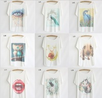 [dan]2014 newest style plus size batwing sleeve women's cotton t-shirt 21 models nice printed t shirt free shipping
