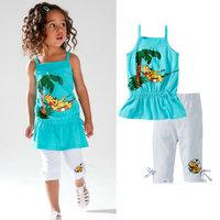 2014 New Wholesale Baby girls Clothing Set  Double Band T shirt+pants Kids summer Clothing Sets