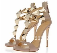 Free Shipping New Sexy Fashion Ladies High Heel 100% Genuine Leather Zipped GZ Sandals With Gold Glitter  Shoes For Women