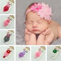 Baby Headband Infant girls Flower Headbands Shabby chiffon flower Newborn toddler shabby chic roses headband XM-43