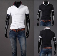 2014 Fashion Pure color Men's Short Sleeve T Shirt slim fit ,Polo shirt ,men short sleeve t shirts