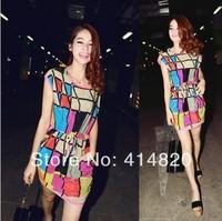 2014 New Fashion Women Casual Dress Sleeveless Geometric Polka Print Vestidos Chiffon Dresses Party Club Mini Plus Size Dress
