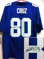 Free Shipping Wholesale Elite American Football Jerseys #80 Victor Cruz Signed Autographed Jersey Embroidery Logo Mixed Order