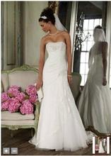 Custom Made nuevo Strapless Lace Fit And Flare vestido con la cara de tipo Split YP3344 Wedding los vestidos nupciales(China (Mainland))