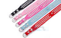 6Pcs  New Rose red Color 4 Sizes 3 Rows Crystal Rhinestone Suede Leather Dog Collar Diamante pet collar D18_RO_6