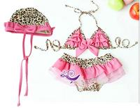 Hot Sale,1Lot=5sets!New 2014 Summer Baby girl swimwear beach Kids Children's bikini swimsuit Wear,Girl's  Leopard Swimsuit