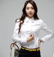 2015 new famous brand long sleeve slim cotton OL shirt  women lady chiffon white blouse