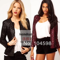 2014 free shipping Sequins Long sleeve round neck Silver women blazer Wholesale cheap fashion hidden breasted women suits HDY06