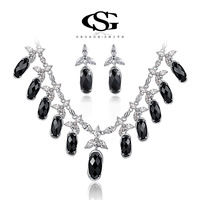 G&S swiss CZ gifts luxury Platinum plating queen luxury set Turtle face gems necklace+earring jewelry arrow heart cuting107039