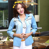 Hot 2014 Spring Autumn New Fashion Blouses Ladies Casual Long Sleeve Embroidery Pocket Vintage Polo Denim Jeans Shirts For Women