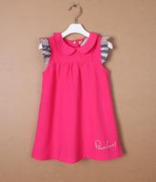 New 2014 Summer Kids Girls Clothing 100% Cotton Plaid Baby Girls Casual Dress Girl Print Dress Brand Dress Free Shipping A146