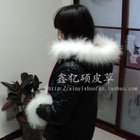 Raccoon fur cap of full leather white dyi vigoreux down coat hat cap of epaulette vigoreux cuff boots