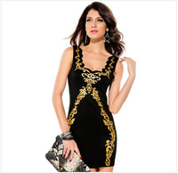 2014 Black Foil Bodycon V neck Vintage Sexy Pirnt Casual Dress women dress saias longas femininas