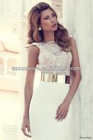 OUMEIYA ONW654 Cap Sleeve Sweetheart V Back Beaded Ivory/White and Gold Wedding Dress 2014
