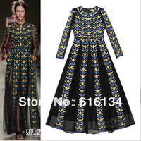 Free shipping! European Runway dress Women spring summer high-quality  black embroidery ankle-length dress Fashion print  dress