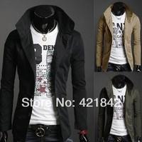 25685611 Free Shipping New Slim Sexy Top Designed Mens Jacket Coat Colour:Black,Army green,Khaki,Wholesale&Retail,Dropshiping