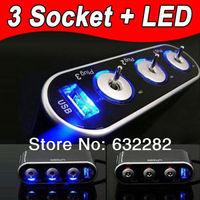 3 Port Blue Light USB Electronic Rechargeable Battery Socket Splitter Flameless Ladeadapter Cigarette Cigar Lighter for Car