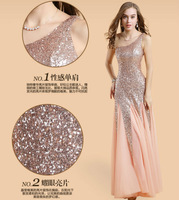 Fashion Women Prom Dress Ladies One Shoulder Floor-Length Bling Shinning Sexy Mermaid Slim Prom Dresses 0482