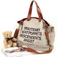 2014 women's handbag casual letter canvas shoulder handbag messenger bag #1037