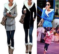 New Women Lady Hoodie Coat Jacket Jumper Fleece TOPs Oblique Zipper Long Sleeve Outwear