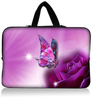 """purple butterfly   15"""" 15.4"""" 15.6"""" Notebook Laptop Neoprene Carrying Sleeve Bag Case Cover Protector Holder +with Handle"""