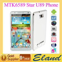 In stock MTK6589 Quad core mobile phone Star U89 Dual Camera 3G 1G RAM 4G ROM 6.0''Touch screen Unlocked Smartphone