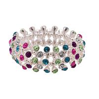 2014 New Fashion Jewelry  Bijoux Women Colorful Rhinestone Sterling Silver Bracelets & Bangles  Free Shipping B2 004