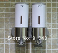 Hot Sale Wholesale And Retail Promotion Bathroom Hotel Wall Mounted Soap Dispenser Dual Shampoo Holder Stainless Steel