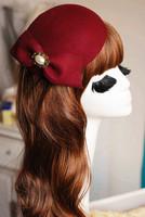 24071 Classtical dinner ferdoras/Woolen dome caps/Dome beret/Vintage caps/Bow Decoration/Queen style