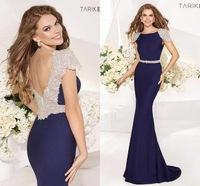 2014 Navy Blue V Back Beaded Mermaid Tarik Ediz Evening Dress Prom Gown Vestidos de Gala  2014 Evening Backless Hollow Back