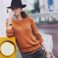 High quality cashmere women's o-neck twisted solid color intellectuality cashmere sweater