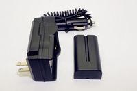 Free Shipping!!7.4V 2200mAh Battery Pach NP-F550 F570 +DC 12V Car AC 100V-240V Adapter Charger
