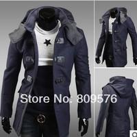 New arival men long style design outwear,coat.cashmere winter wear jacket.