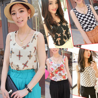 New 2014 Summer Fashion Women Girt Casual Floral Stripe Cross Dot Chiffon Vest Tank top Cami Sleeveless Shirt Blouse #L0341354