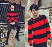 2014 New Fashion Red&Black Star StripeFashion  Sweatshirts men's clothing Free shipping New Arrived