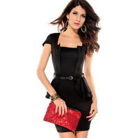 3 Colors 2014 New Fashion Women Bandage Casual Dress with Belt Cap sleeve Peplum Dress work professional office dress